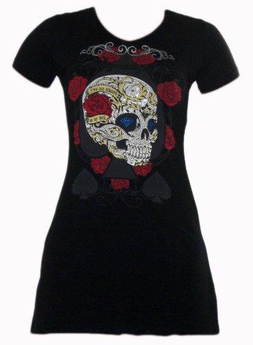 Melis T-Shirt Longshirt/Minikleid SKULL 5246 mit Glitzer Print schwarz