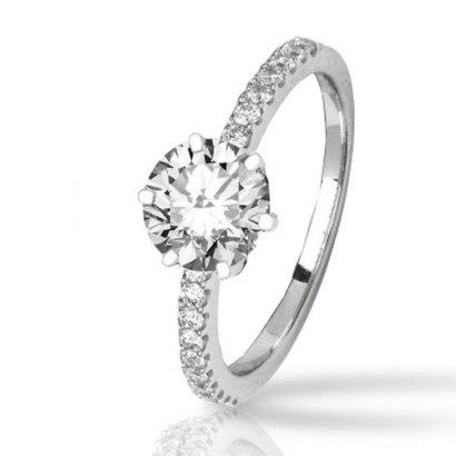 143-Carat-Classic-Prong-Set-Diamond-Engagement-Ring-14K-White-Gold-with-a-1-Carat-I-J-SI2-I1-Round-Brilliant-CutShape-Center