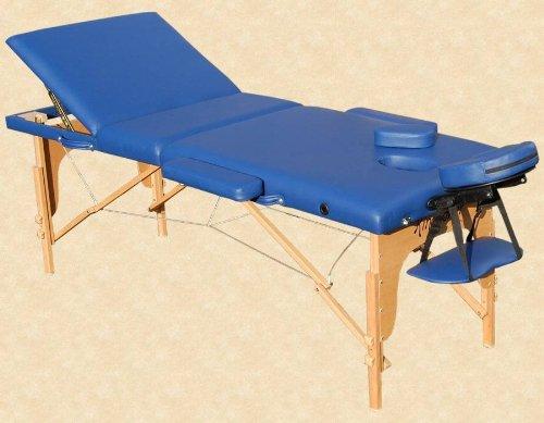 Reiki Massageliege / Massagebank mit viel Zubehör Topqualität, 3-teilig, blau