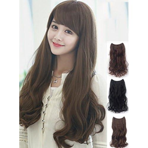 ENZONO 超自然 高品質耐熱 ポイントウイッグ ゆるふわ ロング巻き髪 (ブラック)