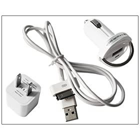High Quality USB Cable+Wall and Car Charger for Apple iPod iPhone 4 4G 4s Free Shipping