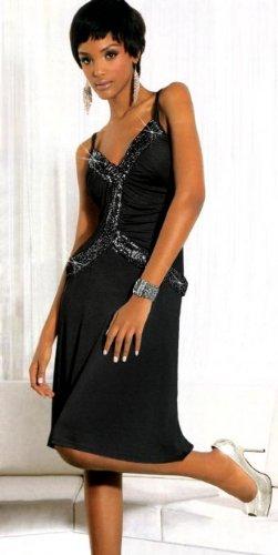 Elegantes schwarzes Cocktailkleid mit Pailletten bestickt von Melrose, Größe:36;Farbzeichnung:Schwarztöne
