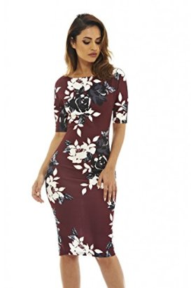 AX-Paris-Womens-34-Sleeve-Floral-Burgundy-Bodycon