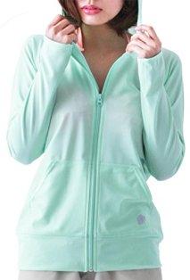 ICEPARDAL(アイスパーダル) 全20色 レディース 無地 ラッシュガード パーカー IR-7100 MNT-SV WMサイズ UPF50 + ラッシュ パーカー 指穴つき 水着 おしゃれ かわいい 人気 緑 色 ミント