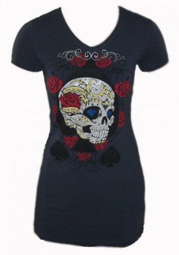 Melis T-Shirt Longshirt/Minikleid SKULL 5246 mit Glitzer Print dunkelgrau