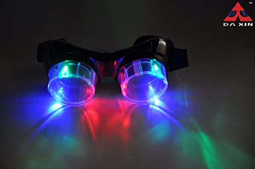 DA XIN LED Flashing Windproof Glasses Light up Eyewear Cool Goggles