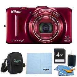 Nikon COOLPIX S9300 16MP 18x Opt Zoom 3.0 LCD Digital Camera 4GB Red Bundle