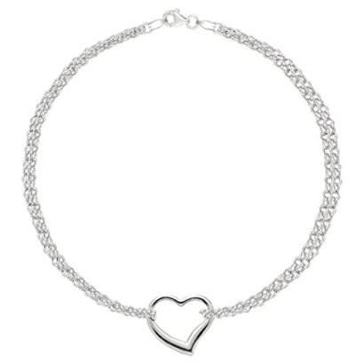 14K-White-Gold-Double-Strand-With-Heart-Anklet-10