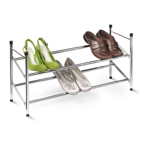 Honey-Can-Do SHO-01170 2-Tier Expandable Shoe Rack, Chrome