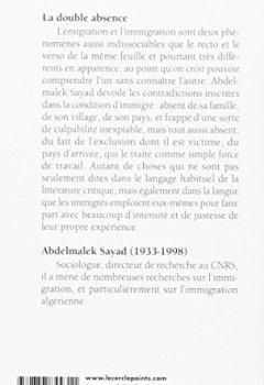 Livres Couvertures de La Double Absence. Des illusions de l'émigré aux souffrances de l'immigré