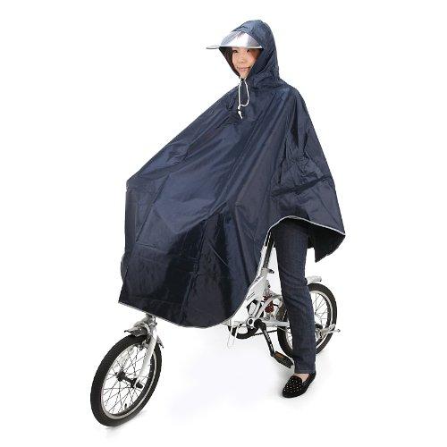 [Amagoo]自転車用 レインコート ポンチョタイプ カラー5色 【ブルー/レッド/イエロー/ネイビー/ピンク】 男女兼用 フリーサイズ (ネイビー(濃紺))