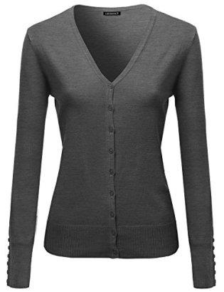 Basic-Solid-V-Neck-Sweater-Cardigans-Charcoal-Size-M