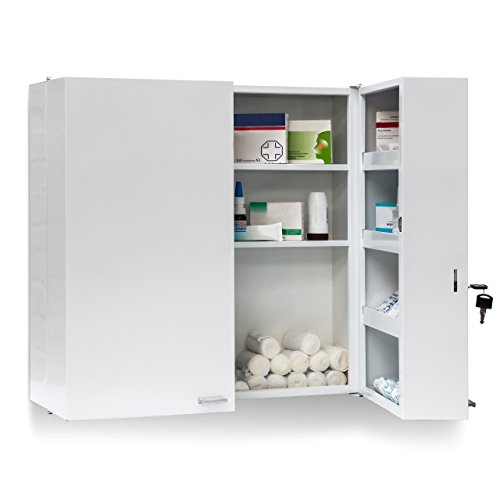 Relaxdays Medikamentenschrank Edelstahl XXL H x B x T: 53 x 53 x 20 cm mit 11 Ablagen für viel Stauraum und Tür zum Abschließen samt 2 Schlüsseln Medizinschrank in modernem Stil fürs Bad, weiß