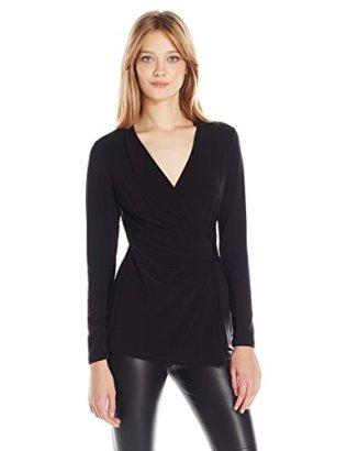 Anne-Klein-Womens-Side-Buckle-Faux-Wrap-Top-Black-Medium