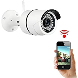 NexGadget Home Security Camera Waterproof Wireless IP Camera, IR-Cut Night Vision, Motion Detection Alert, Video Monitoring, Home Surveillance System P2P Outdoor WiFi Network Bullet Camera, White