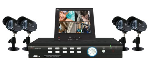 Night Owl LB-4DVR5-8LCD-4CM 4 Channel H.264 D1 DVR with, 4 pack CMOS Cameras 400+ TVL and 8-Inch Color LCD Security Monitor