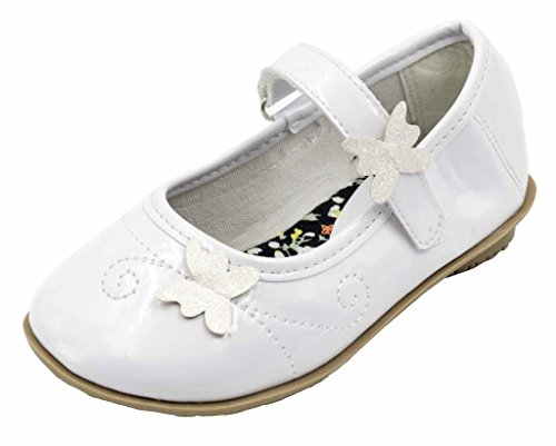 Simply Petals Girl's Faith Ballerina Flats with Cute Butterfly Detail (Toddler/Little Kid/Big Kid) in White Size: 4 M US Big Kid