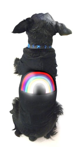 Halloween Pet Costume LED Disco Hooded Rainbow T-shirt, with Sound Activated Sensor, Medium By Platinum Pets