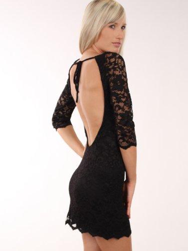FourFlavor Sexy Abendkleid aus Spitze (M, schwarz)