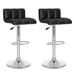 CorLiving B-607-UPD Low Back Adjustable Bar Stool, Black Leatherette, Set of 2