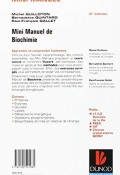 Livres Couvertures de Mini Manuel de Biochimie: Cours + QCM/QROC + exos