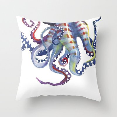 Octopus Throw Pillow by Sam Nagel