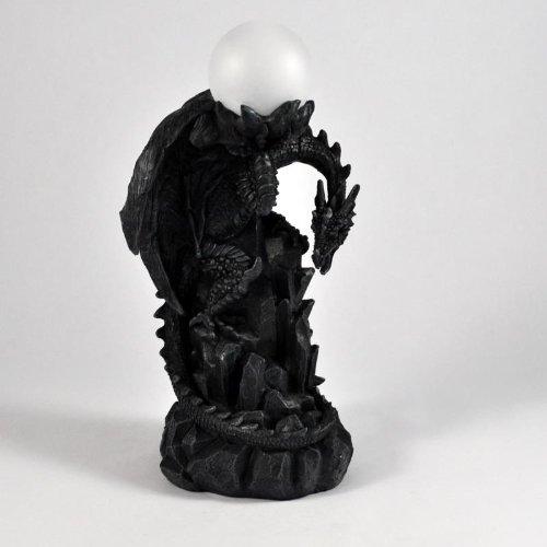 DRACHENLAMPE # Gothic Tischlampe # Drache auf Felsen