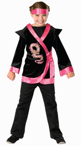 Child's Pink Dragon Ninja Costume, Large