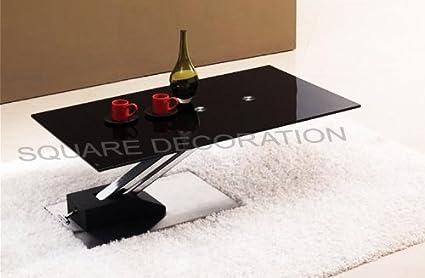 Table Basse Relevable Step Design En Verre Noir