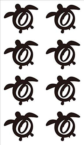 nc-smile イニシャル ハワイアン ホヌ 英字 アルファベット デコレーション シール ステッカー O ブラック