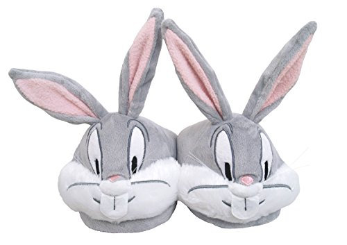 Bugs Bunny Looney Tunes Face Cartoon Plush Womens Slippers