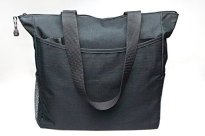 Black-Tote-Bag-17-Inches-Travel-Shopping-Business-Handle-Carrier-by-MakExpress