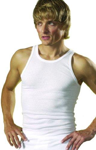 HERMKO 3000 5er Pack Herren Tank Top Classic Unterhemd weiß kochfest Muskel Shirt Trägershirt aus 100% Baumwolle in Feinripp (glatt) weiß Größe 8