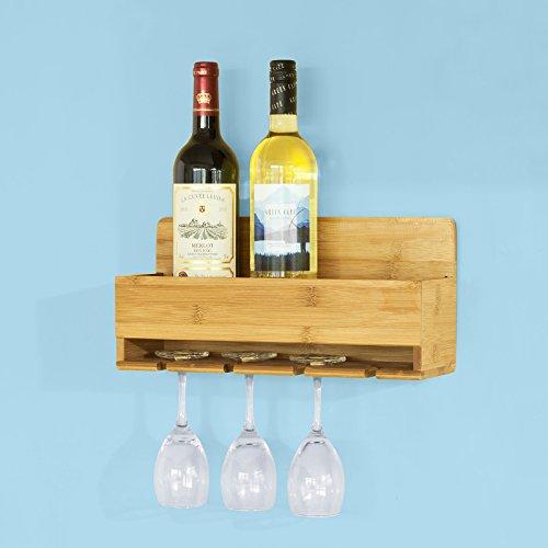 SoBuy® Weinflaschenhalter, Wandregal mit Weinflaschenablage und Weinglashalter, Hängeregal, Gläserhalter,FRG73-N