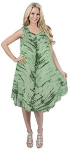 La-Leela-RAYON-Women-Beach-Sun-Dress-Coverup-HAND-Tie-dye-TUNIC-Green-Cover-up