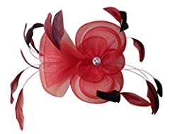 AM CLOTHES Feather and Polyester Fascinator Headband on a Clip and Brooch (RED)