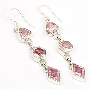 Real Pink Quartz Top Quality Glamorous Bling Gemstone Earrings 10g 925 Sterling Silver