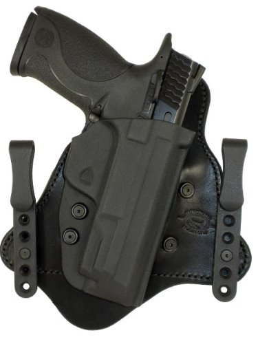 Minotaur MTAC Holster - Black Leather Backing - 1.50 Black Standard ClipsS&W M&P Compact 9/40/357Right