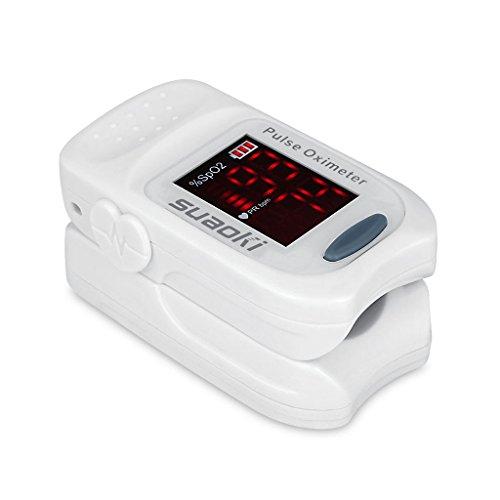 Suaoki FS10A Pulsossimetro da Dito con Schermo LED per Misurazione di Frequenza di Polso (PR) e Saturazione di Ossigeno (SpO2), Batteria e Custodia Inclusa