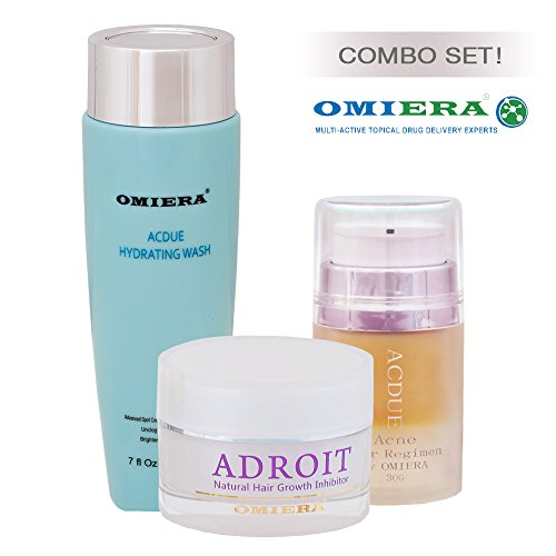 Omiera Labs Acdue Acne Treatment + Adroit Hair Growth Inhibitor + Acdue Cleaser Dark Spots Corrector After Hair removal Serum Skin Care Set.