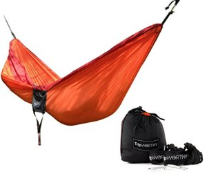 Premium-Outdoor-Hammock-for-Hiking-Camping-Backpacking-More-FREE-Hanging-Straps-Parachute-Nylon-Fabric-Compact-Lightweight-Set-Bag-Stainless-Steel-Carabiner-Rope-and-Tree-Straps