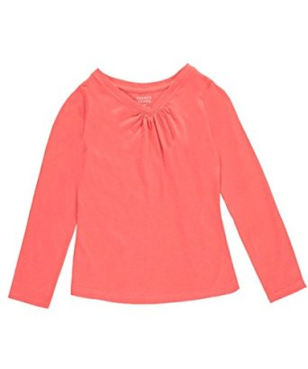 French-Toast-Big-Girls-Ruched-V-Neck-LS-T-Shirt-coral-7-8