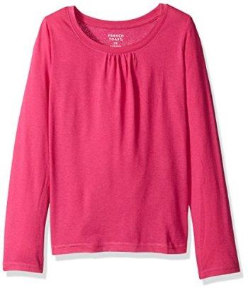 French-Toast-Girls-Toddler-Girls-Long-Sleeve-Crew-Neck-T-Shirt-Rose-Violet-2T