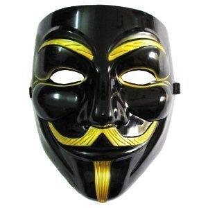 NEWタイプ VIP版 V for Vendetta Mask / アノニマス/ガイ・フォークス 仮面 マスク ブラック&ゴールド コスプレ ミリタリー サバゲー ハッカー集団  PVC製 0.5mm 肉厚