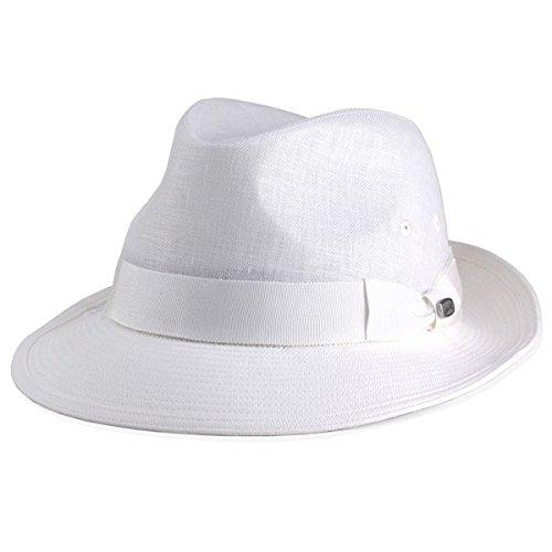 ボルサリーノ ハット 春夏 リネンツイル ワイドブリム 中折れハット メンズ ボルサリーノ型 グログランリボン borsalino 帽子 メンズ つば広 麻 オフホワイト 白