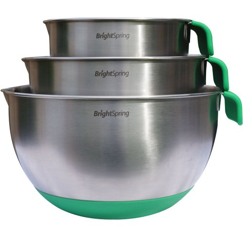 BrightSpring Mixing Bowls - 3-piece Stainless Steel Set - Rubber Bottom, Measurements,