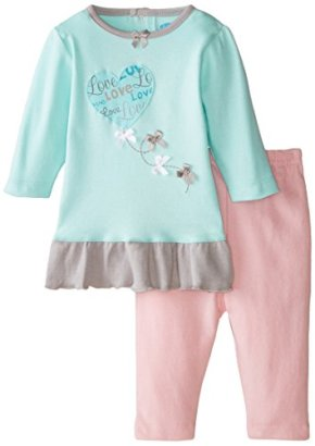 BON-BEBE-Baby-Girls-Newborn-Love-and-Bows-2-Piece-Dress-Set