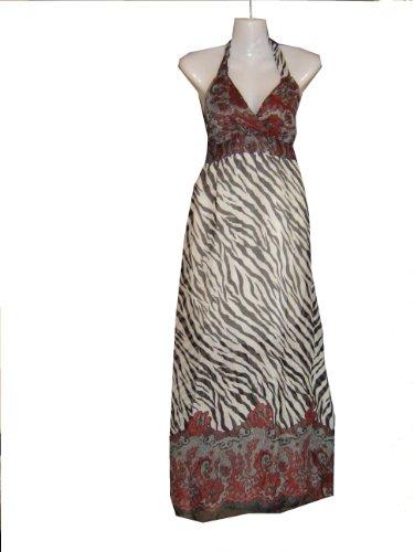 langes Kleid Sommerkleid Strandkleid Zebra-Look M