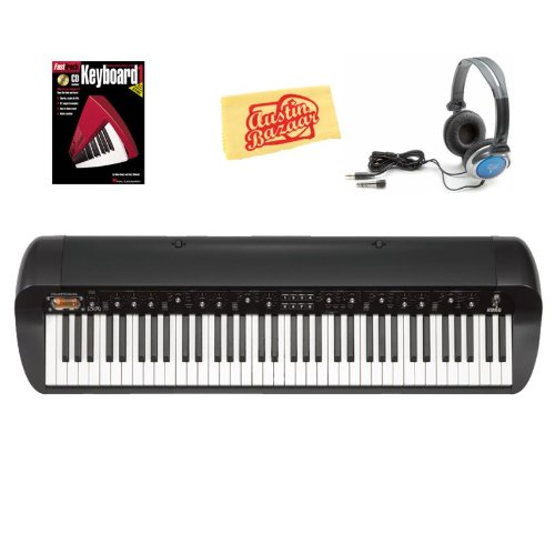 Korg SV-1BK Stage Vintage Piano Bundle with with Headphones, Instructional Book, and Polishing Cloth - Black