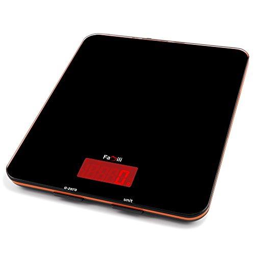 Famili デジタルクッキングスケール 強化ガラス製の計量はかり キッチンスケール 1g単位5kgまで計量 ブラック FM201BOB